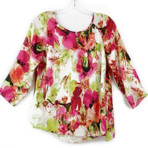 Sunny Leigh Watercolor Floral Blouse M